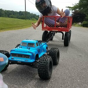 How Strong is the Arrma Notorious? How Fast Can it Pull the Red Wagon? RC Pulling Speed Test